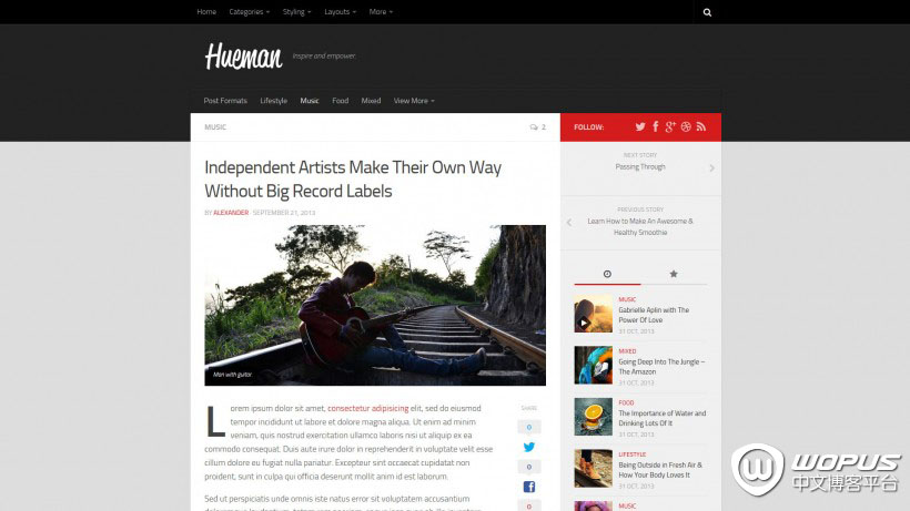 WordPress杂志博客主题:Hueman