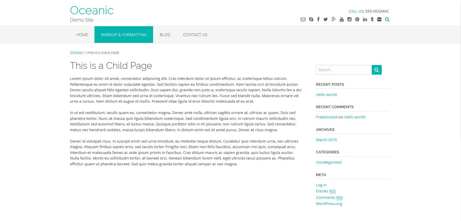 WordPress企业主题: Oceanic