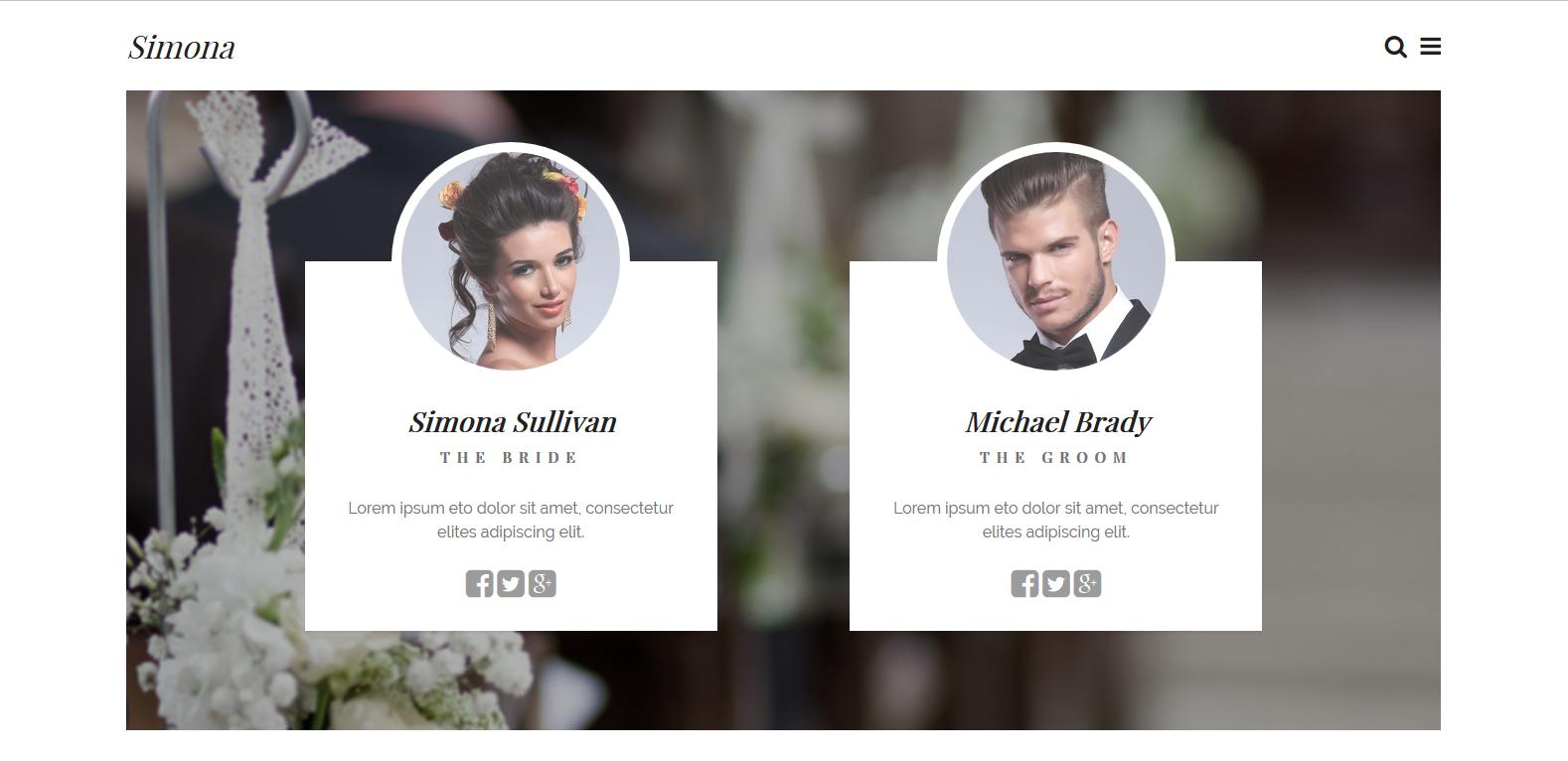WordPress婚礼主题:Simona