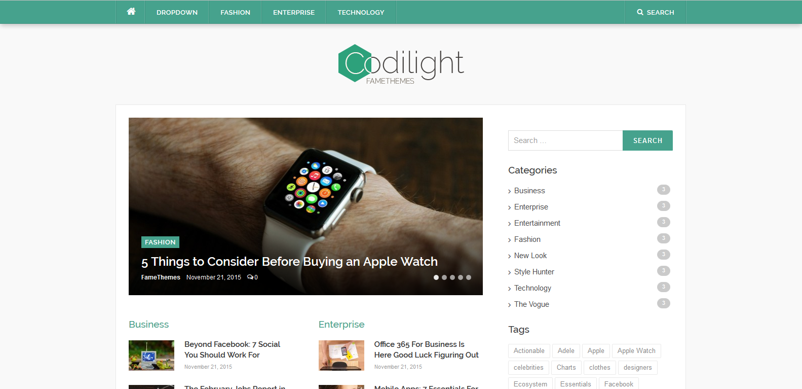 WordPress杂志主题:Codilight Lite