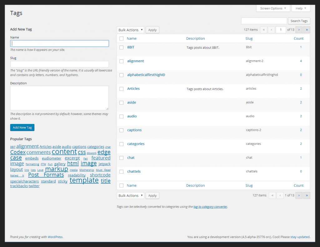 WordPress 4.6将改进标签和分类的管理页面
