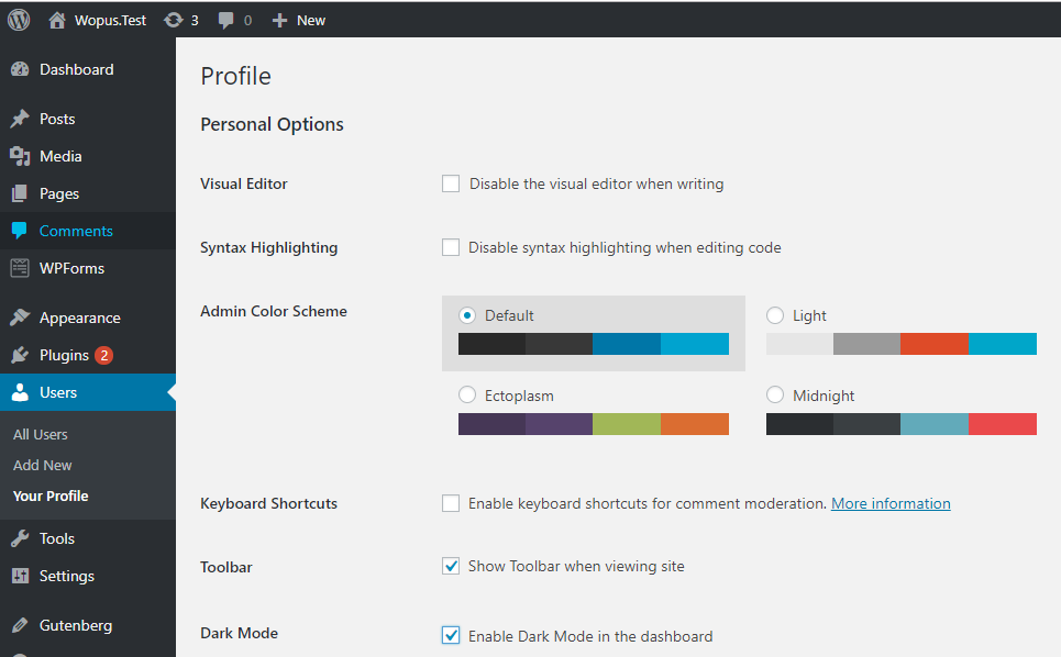 WordPress仪表盘黑色模式上线